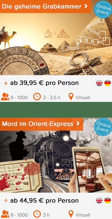Teamevents Grabkammer und Orient-Express