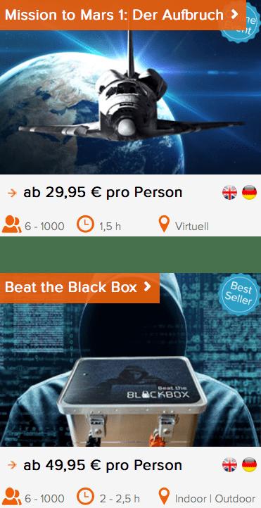 Teambuilding bei Mission to Mars und Beat the Black Box